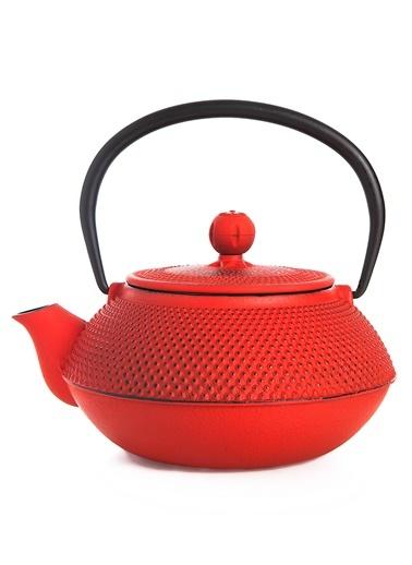 Taşev Linden - Sümbül 800 ml Kırmızı Döküm Çaydanlık-Bambum